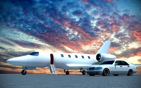 classy jet and car